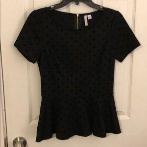 Black peplum dot top and skirt set